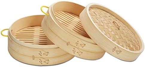 41heRf2MRTL. AC DOITOOL Natural Bamboo Steamer Basket Set with Handle and Lid 20cm Traditional Chinese Steamer Basket Food Steaming Pot for Dumpling Bao Bun Dim Sum     Description 2 pcs Bamboo Steamer Kitchen Round Buns Steamer Cookware Food Steamer Cooking Tools for Restaurant Home