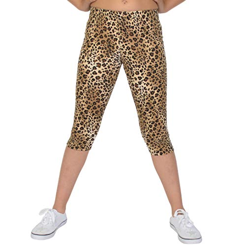 Stretch is Comfort Girl's Print Capri Leggings Brown Cheetah Small -