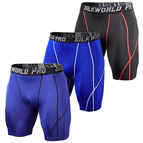 SILKWORLD Men's Running Tight Compression Shorts
