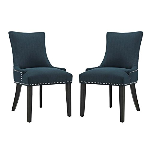 Modway Marquis Modern Elegant Upholstered Fabric Parsons Two Dining Side Chair Set With Nailhead Trim And Wood Legs In Azure
