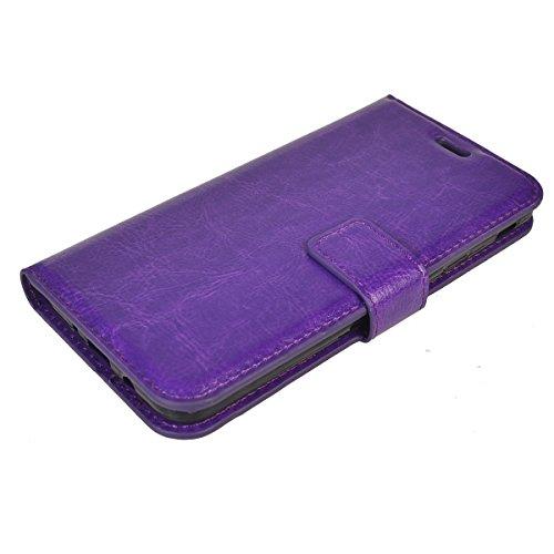 Galaxy J5 Prime Funda,COOLKE Retro PU Leather Wallet With Card Pouch Stand de protección Funda Carcasa Cuero Tapa Case Cover para Samsung Galaxy J5 Prime SM-G570F/DD - Rojo púrpura