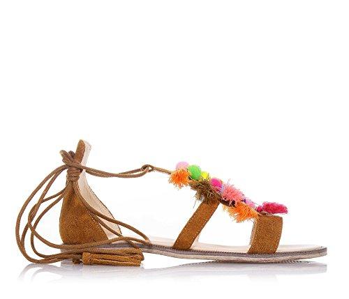 FLORENS - Sandalia marrón de ante, made in Italy, con cierre de cordones, decoraciones multicolor de tejido en la parte frontal, Niña, Chica, Mujer