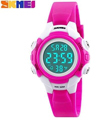 Unisex Children Kids Digital Alarm Stopwatch Wrist Watch Rose Red