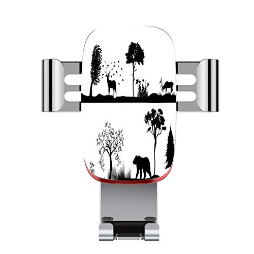 Metal automatic car phone holder,Cabin Decor,Monochrome Landscape Wildlife Theme Natural Habitat Animal Silhouett,adjustable 360 degree rotation, car phone holder compatible with 4-6.2 inch - Wildlife Cabin Holder