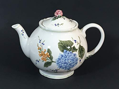 (Princess House teapot 8 cup vintage garden porcelain white with blue floral)