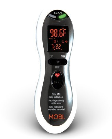 Mobi Ultra Pulse Ear and Forehead Talking Digital Thermometer with Pulse Rate Monitor by MOBI