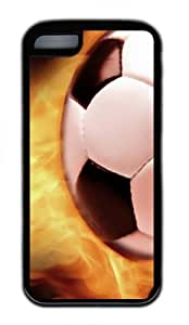 Soccer Flame14 TPU Silicone Case Cover for iPhone 5C Black by lolosakes