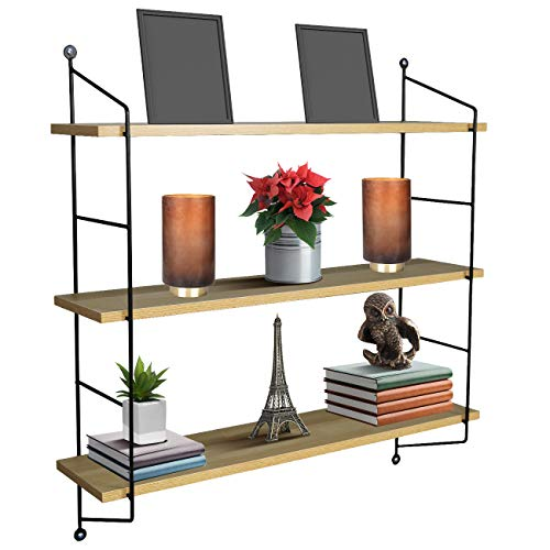 Sorbus Floating Shelf with Metal Brackets - Wall Mounted Rustic Wood Wall Storage, Decorative Hanging Display for Trophy, Photo Frames, Collectibles, and Much More (3-Tier - Maple)