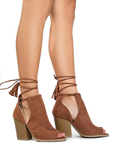J. Adams Peep Toe Lace Up Ankle Bootie - Stacked Mule High Heel - Open Toe Cutout Ankle Strap - Cady by Rust Suede BgO3WQ