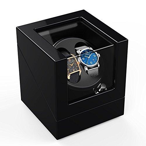 Double Automatic Watch Winder Box 4 Modes, Wood Shell, Piano Paint Black...