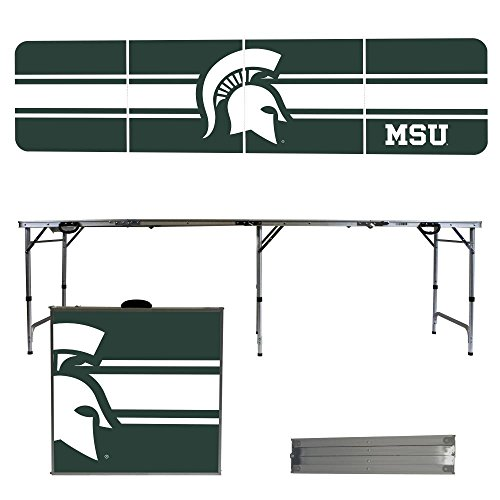 NCAA Michigan State University Spartans Stripe Version 8-Feet Folding Tailgate Table (Tailgate State Table)