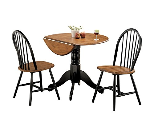 Major-Q 9000878 3Pc Pack Traditional Style Cherry/Black Finish Dining Room Set Includes 30