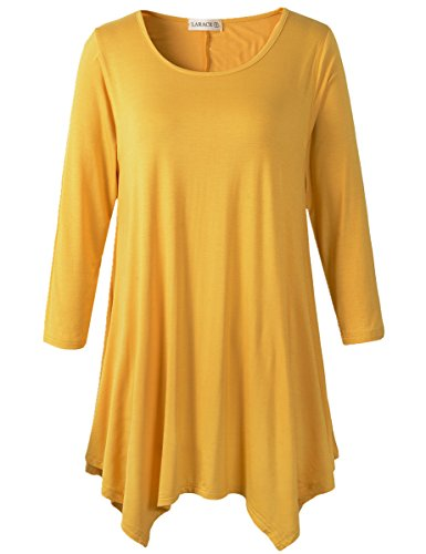 Lanmo Women Plus Size 3/4 Sleeve Tunic Tops Loose Basic Shirt (3X, Yellow) ()