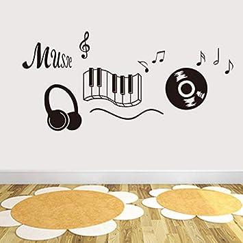 Pbldb Registro Clásico Auricular Teclado De Piano Nota Musical Arte De La Pared Mural Pegatinas Sala De Estar Moda Tatuaje De Pared Negro Paredes De Vinilo ...
