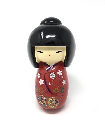 Kokeshi Doll Red Kimono Magnet Home Decoration Refrigerator Whiteboard Cabinet 2 in.x 1.1 in. Doll Fridge Magnet
