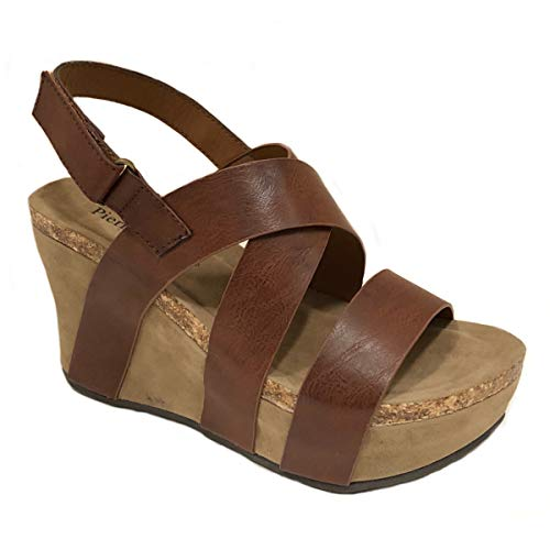 Pierre Dumas Womens Hester-5 Vegan Leather Strappy Wedge Sandals (7 M US, Whiskey)
