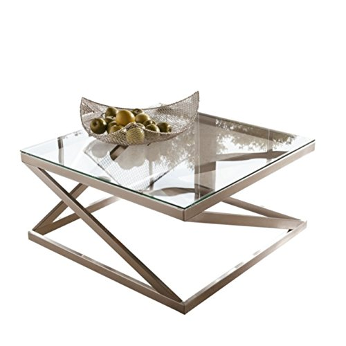 Ashley Furniture Signature Design - Coylin Square Cocktail Table - Contemporary Glass Coffee Table - Silver (Table Chrome Coffee)