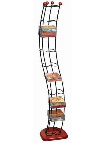 Atlantic Wave Multimedia Wire Tower - Hold 110 DVD/CDs in Steel and Black Cherry Wood, PN1316 by Atlantic