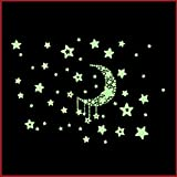 寝るのが楽しみ♪ 蓄光 光る シール 壁 ステッカー 寝室 に 夜光 ウォールステッカー ( 三日月空 )