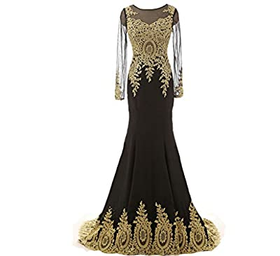 Lemai Spandex Sheer Long Sleeves Gold Lace Mermaid Formal Evening Prom Dresses