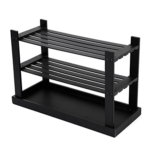 SONGMICS Black Shoe Rack Bench,3-Tier Bamboo Shoe Organizer,Storage Shelf,Holds Up to 264 Lbs, Ideal for Entryway Hallway Bathroom Living Room and Corridor ULBS04H by SONGMICS (Image #6)