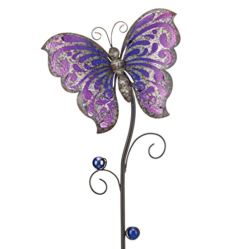 Regal Art & Gift Garden Rustic Butterfly 9.5 Inches X1.2 Inches X38 Inches Metal Glass Stake- Garden (Holiday Yard Decor)