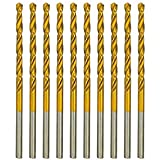 "amoolo 1/8"" Titanium Drill Bits (10pcs), Premium 4341 HSS Metal Drill Bits for Wood, Metal, Steel, Plastic, Aluminum Alloy"