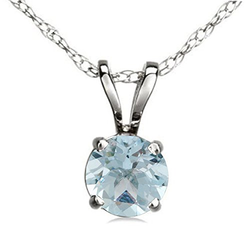 Sterling Silver 7 mm Round Cut Aquamarine Ladies Solitaire Pendant (Silver Chain Included) by DazzlingRock Collection