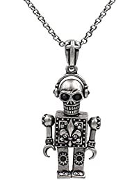 Moveable Robot Skull Sparkling Cubic zirconia Necklace