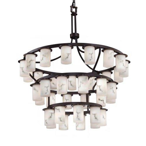 Justice Design Group Lighting FAL-8733-10-DBRZ LumenAria Dakota Downlight 36-Light Inverted 3-Tier Chandelier, 42