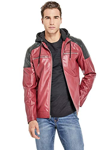 G by GUESS Men's McManus Color-Block Moto Jacket Red Wine