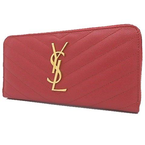 サンローラン ラウンドファスナー長財布 財布 キャビアスキン レッド 赤 ゴールド金具 358094 17060996 中古 B073W5CY6M