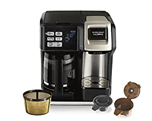 Hamilton Beach Programmable Coffee Maker, Flexbrew 2-Way Brewer (12-Cup Carafe & Single Serve K-Cups or Ground Coffee) with Gold Tone Filter (49950C)