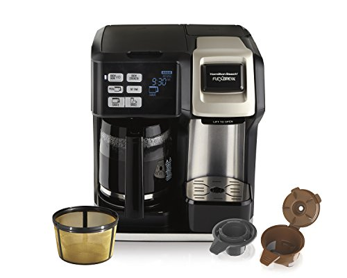 Hamilton Beach Programmable Coffee Maker, Flexbrew 2-Way Brewer (12-Cup Carafe & Single Serve K-Cups or Ground Coffee) with Gold Tone Filter (49950C) (Timer Coffee)
