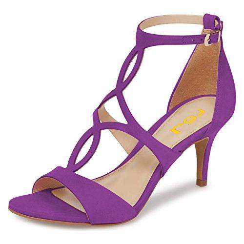 Fsj Donne Strappy Open Toe Sandali Tacco Basso Caged Ritaglio Finto Camoscio Scarpe Comode Taglia 4-15 Us Purple