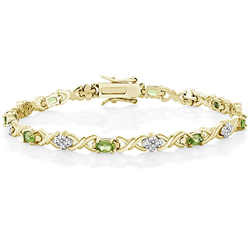 4.00 Ct Peridot 18K Gold Plated Sterling Silver Bracelet with Diamond Accent