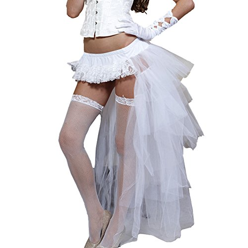 Oliveya Women Costume Steampunk Cocktail Party Skirts White Long High-Low Tutu]()