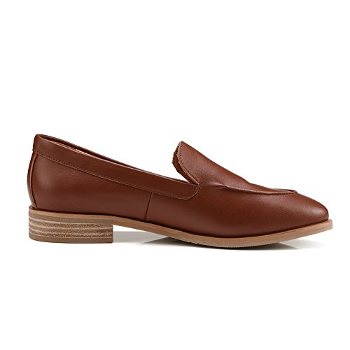 eastbay cheap online best seller cheap price ONEENO Loafers for Women Girls Comfort Casual Pointed Toe Slip-on Low Heels Cowhide Leather Flat Shoes Red-brown outlet Inexpensive E2rCDTV9p