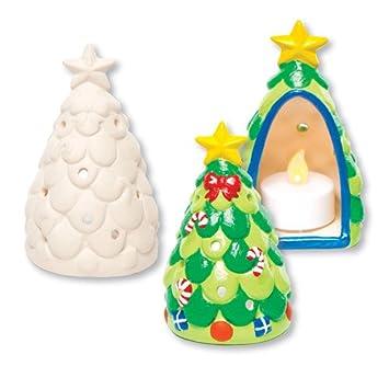 Christmas Tree Ceramic Tealight Holders For Children To Design Paint
