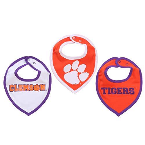 NCAA Clemson Tigers Bib Set (3 Pcs) for Baby Boy or Girl
