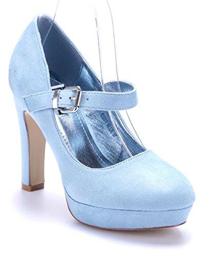 Schuhtempel24 Damen Schuhe Spangenpumps Pumps Blau Trichterabsatz 11 cm High Heels