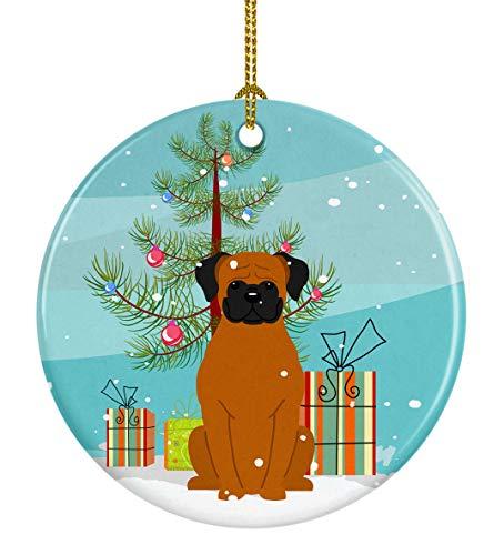 Caroline's Treasures Merry Christmas Tree Fawn Boxer Ceramic Ornament