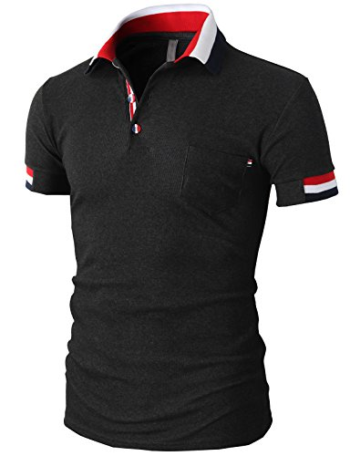 H2H Mens Casual Slim Fit Polo Shirts Short Sleeve With Various Color Trim