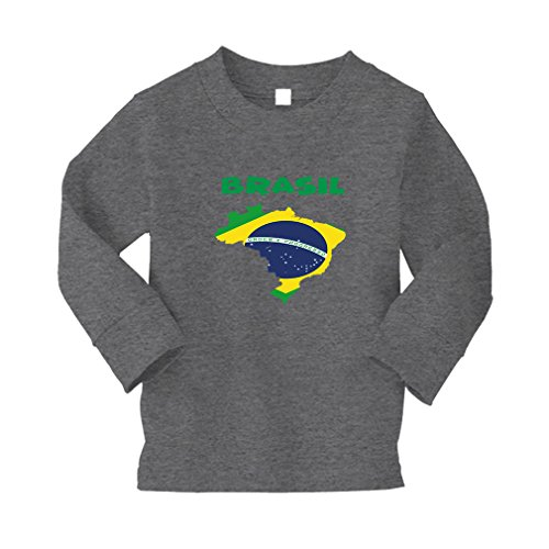 Brasil Brazil Kids 100% Cotton T-Shirt Tee - Oxford Gray, 3T