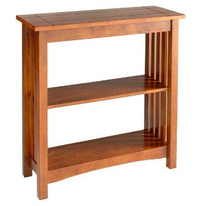 Wood Bookcase Mission-Style in Warm Oak Finish - Mission Style Corner
