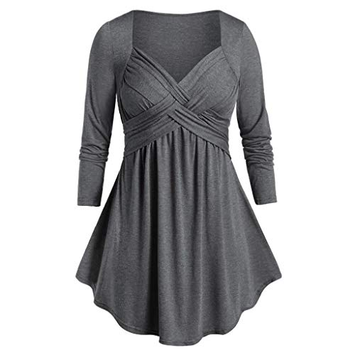 NANTE Top Loose Women's Blouse Marled Sweetheart Collar Space Tunic Flare T Shirt Plus Size Tops Womens Clothes Ladies Clothing Costume (Gray, ()
