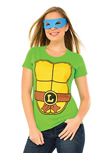 Tmnt Costumes Womens (Rubie's Costume Teenage Mutant Ninja Turtles Top With Mask and Leonardo, Green, Large)