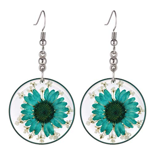 FM FM42 Multi-Colored Pressed Turquoise Daisy & White Queen Anne's Lace Flowers 1.14