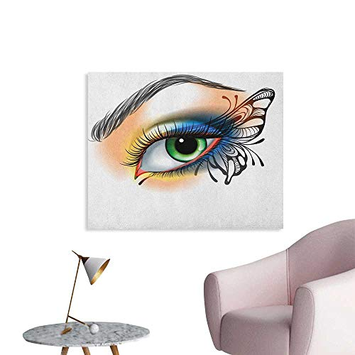 (Anzhutwelve Eye Wall Picture Decoration Fantasy Womans Eye Make Up Butterfly Wing Vibrant Colors Eyelashes Female Looking Wall Poster Multicolor W48 xL32)