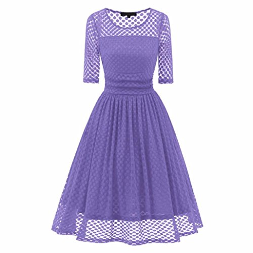 Women Long Dress Daoroka Women's Sexy Vintage Lace Three Quarter Sleeve Formal Patchwork Wedding Dress Cocktail Retro Swing Evening Party Skirt Fahion Dot Hollow Slim Ladies Dress (L, Purple) by Daoroka Women Dress
